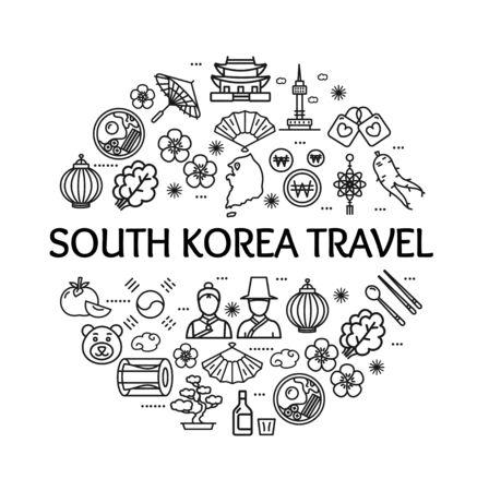 Korea Signs Round Design Template Thin Line Icon Concept. Vector Illustration
