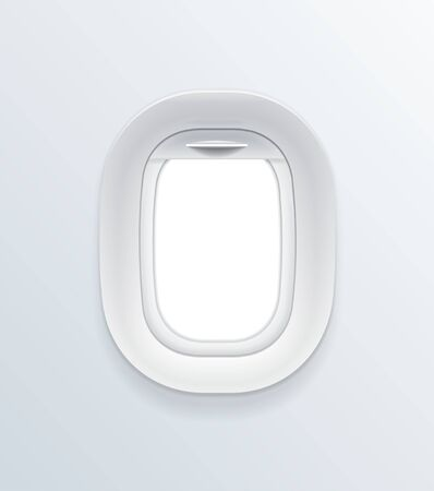 Realistic Detailed 3d Blank Airplane Window Template Mockup. Vector