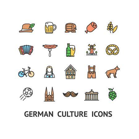 German Culture Sign Color Thin Line Icon Set. Vector