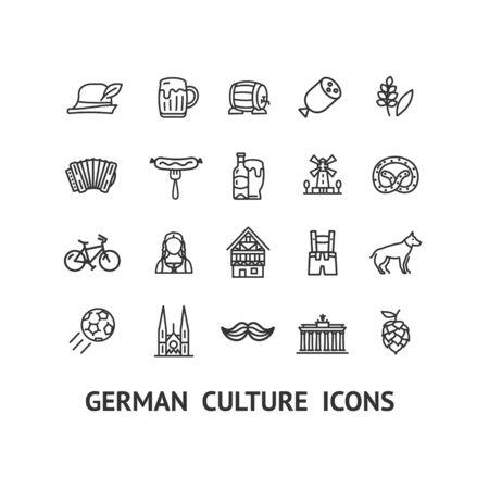 German Culture Sign Black Thin Line Icon Set. Vector Иллюстрация