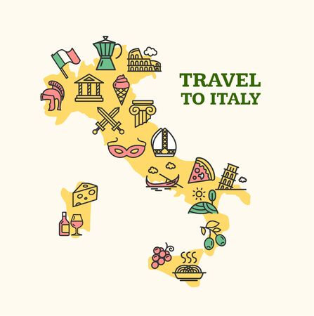 Italy Travel Banner Card with Map. Vector Vetores