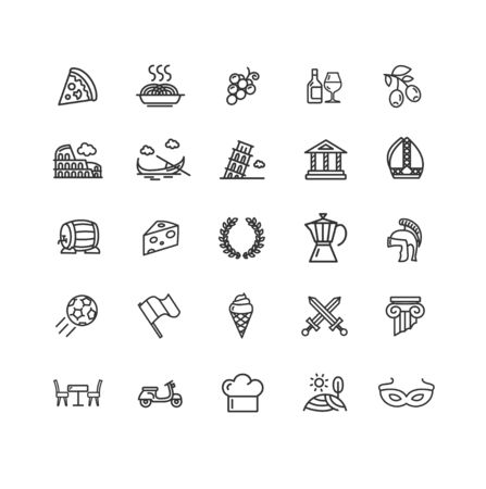 Italy Sign Black Thin Line Icon Set. Vector