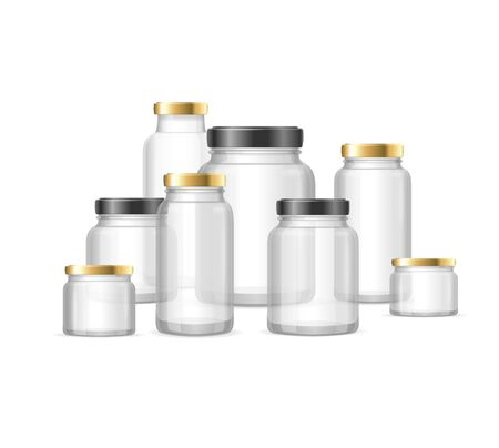 Realistic Detailed 3d Empty Glass Jar Different Sizes Set. Vector