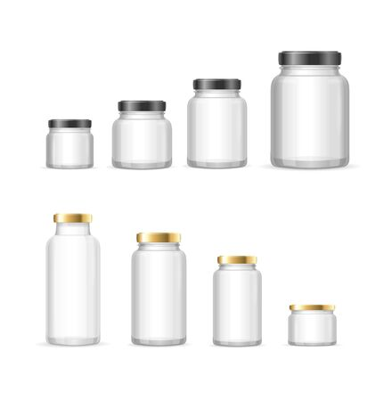 Realistic Detailed 3d Empty Glass Jar. Vector