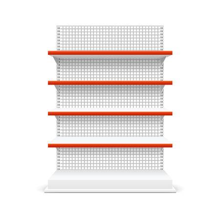 Realistic Detailed 3d White Blank Store Shelves Market Rack Template Mockup. Vector Stock Illustratie