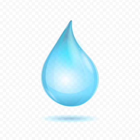 Realistic Detailed 3d Bright Pure Blue Water Drop on a Transparent Background. Vector illustration of Raindrop
