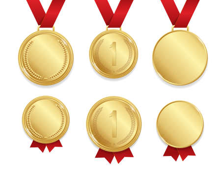 Realistic Detailed 3d Golden Medal Empty Template Mockup and First Place Set. Vector illustration of Gold Medals