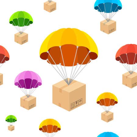 Cartoon Color Parachute with Box Seamless Pattern Background for Web and App Design. Vector illustration