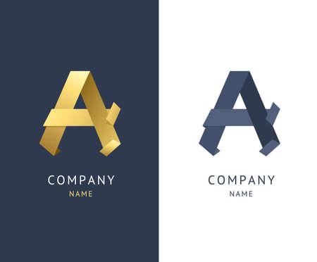 Sign A Metallic Gold Alphabet Symbol Letter Set Luxury Design Emblem Set. Vector illustration Ilustração