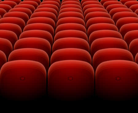 Cinema Theater Red Seats Row Set. Vector