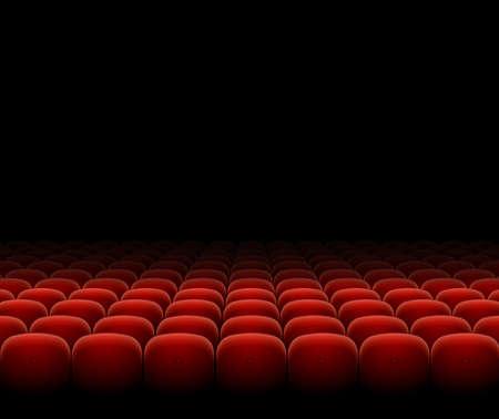 Cinema Theater Red Seats Row Set on a Dark. Vector