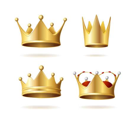 Realistic Detailed 3d Golden Royal Crown Set. Vector