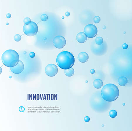 Realistic Detailed 3d Molecule and Innovation Banner Concept Ad Poster Card. Vector