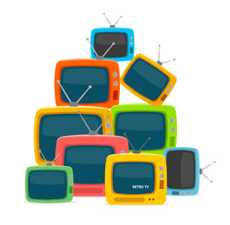 Cartoon Color Different Types Retro Tv Pile. Vector