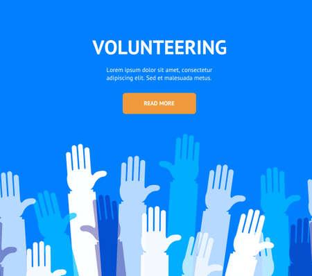 Hands Volunteering Concept Banner Flat Design Style. Vector