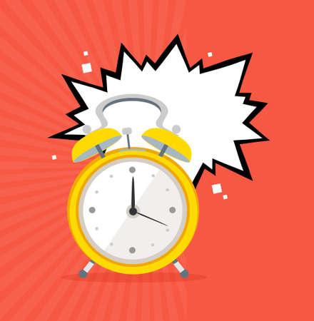Alarm Clock Concept Banner Flat Design Style. Vector  イラスト・ベクター素材