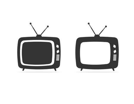 Cartoon Silhouette Black Retro Tv Set. Vector  イラスト・ベクター素材