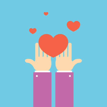 Hands with Heart Volunteering Concept Banner Flat Design Style. Vector