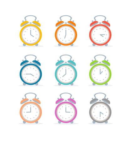 Cartoon Color Alarm Clock Icon Set. Vector