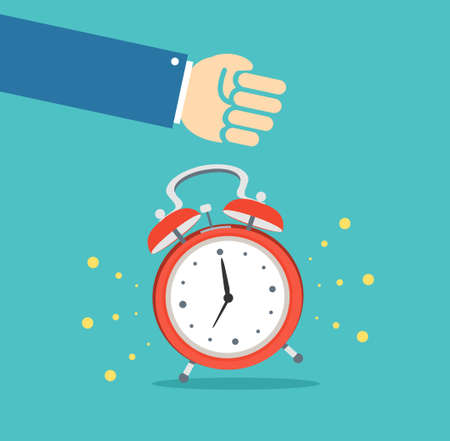 Alarm Clock and Hand Concept Banner Flat Design Style. Vector  イラスト・ベクター素材