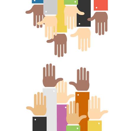 Cartoon Hands to Hands Concept Banner Flat Design Style. Vector
