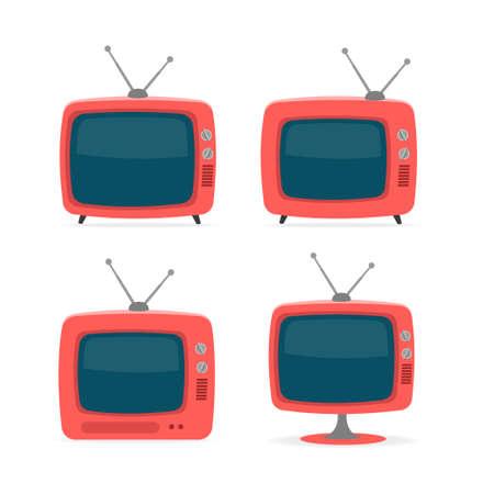 Cartoon Red Retro Tv Icon Set. Vector