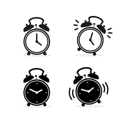 Cartoon Silhouette Black Alarm Clock Set. Vector