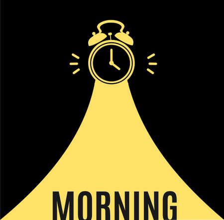 Alarm Clock Morning Concept Banner Flat Design Style. Vector  イラスト・ベクター素材