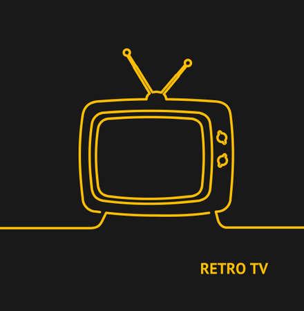 Retro Tv Concept Banner Line Design Style. Vector