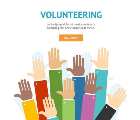 Different Hands Volunteering Concept Banner Flat Design Style. Vector