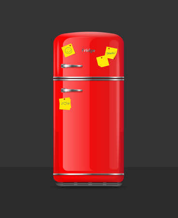 Realistic Detailed 3d Vintage Red Fridge with Yellow Sticky Note. Vector  イラスト・ベクター素材