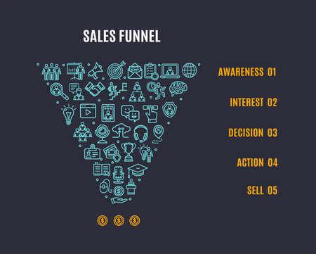 Sales Funnel Banner Concept Ad Poster Card. Vector Ilustración de vector