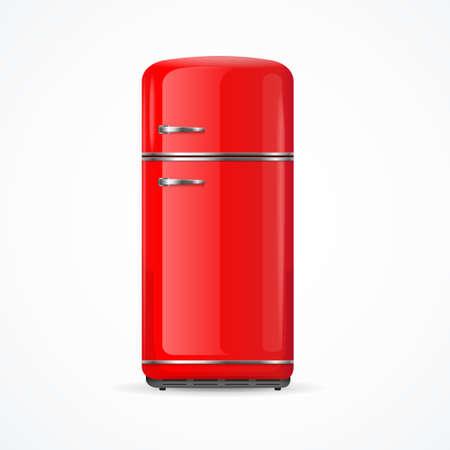 Realistic Detailed 3d Vintage Red Fridge. Vector