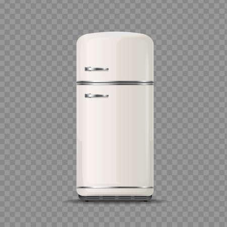 Realistic Detailed 3d Vintage White Fridge. Vector  イラスト・ベクター素材