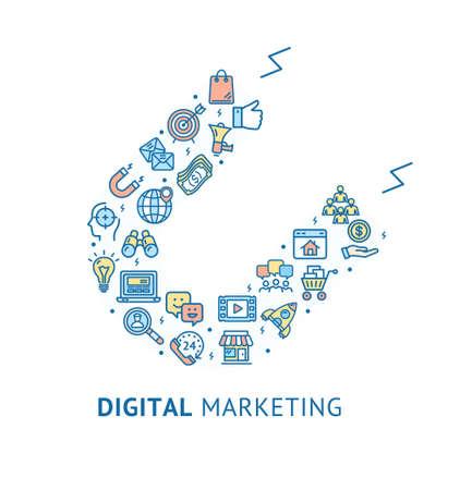 Digital Marketing Banner Concept Ad Poster Card. Vector  イラスト・ベクター素材