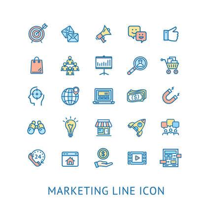 Inbound Marketing Color Thin Line Icon Set. Vector  イラスト・ベクター素材