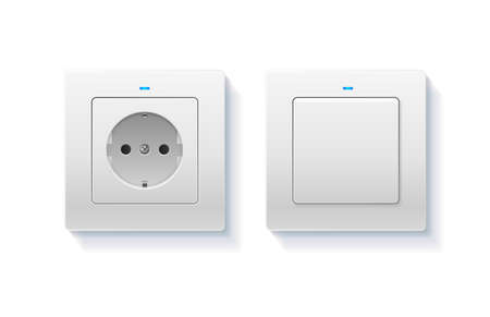 Realistic Detailed 3d Wall Switch and Power Electrical Socket. Vector  イラスト・ベクター素材