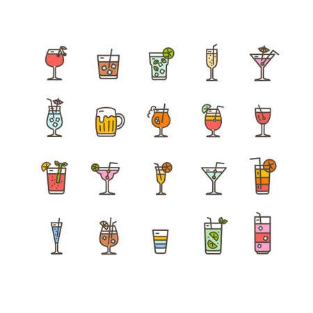 Alcohol Bar Color Thin Line Icon Set. Vector