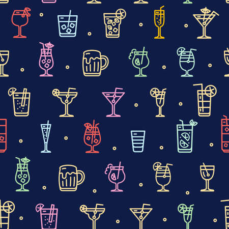 Alcohol Cocktail Signs Seamless Pattern Background on a Blue. Vector