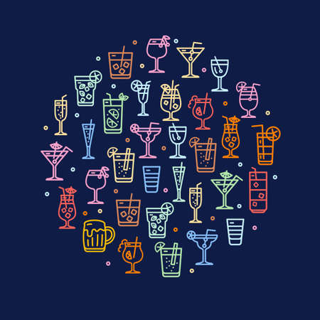 Alcohol Cocktail Round Design Template Contour Lines Icon Concept. Vector  イラスト・ベクター素材