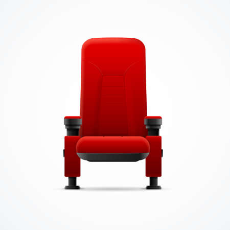 Realistic Detailed 3d Red Cinema Chair. Vector