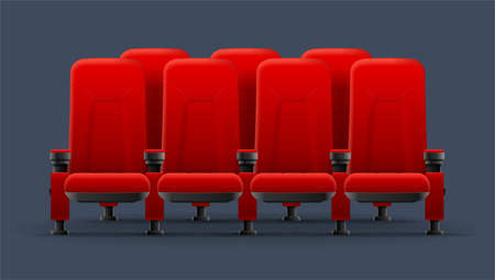 Realistic Detailed 3d Red Cinema Chairs. Vector