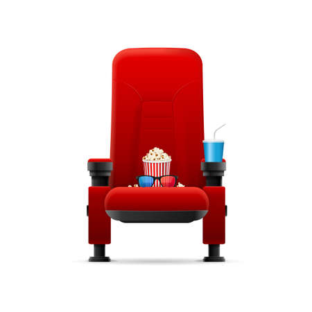 Realistic Detailed 3d Red Cinema Chair Concept. Vector