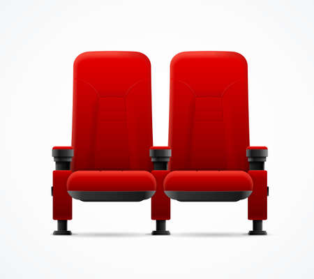 Realistic Detailed 3d Red Cinema Couple Chairs. Vector