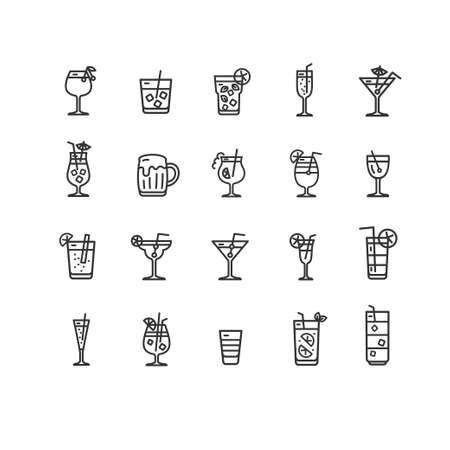 Alcohol Bar Black Thin Line Icon Set. Vector