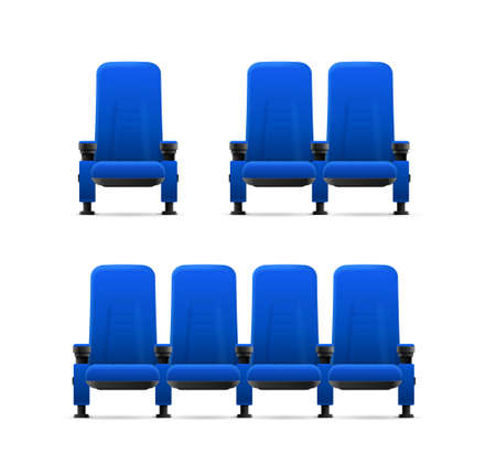 Realistic Detailed 3d Blue Cinema Chairs Set. Vector  イラスト・ベクター素材