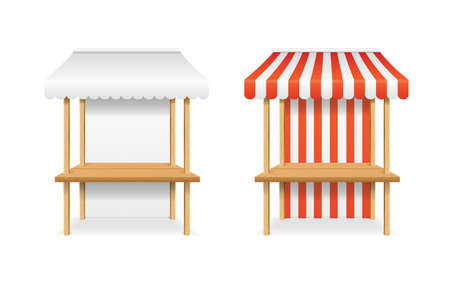 Realistic Detailed 3d Blank and Striped Market Stall Template Mockup Set. Vector