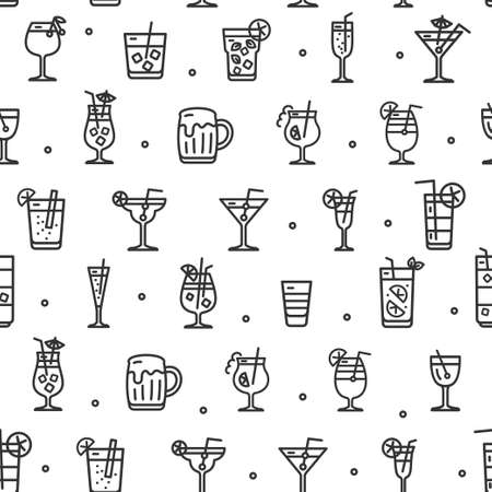 Alcohol Cocktail Seamless Pattern Background on a White. Vector