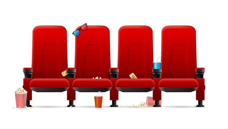 Realistic Detailed 3d Red Cinema Seats. Vector