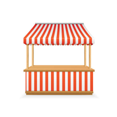 Realistic Detailed 3d Empty Striped Market Stall. Vector  イラスト・ベクター素材